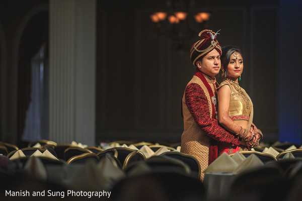 Indian Bride and Groom Wedding Day Portrait
