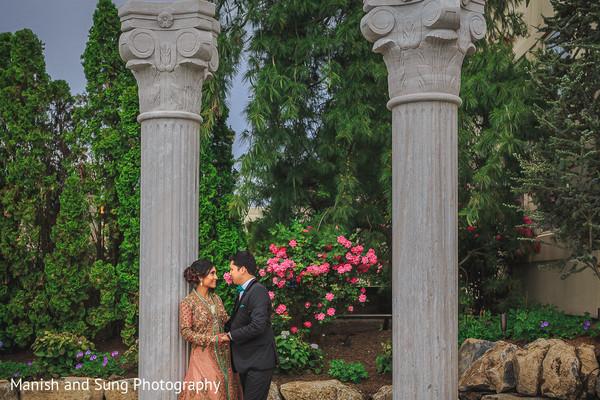 Indian Bride and Groom Wedding Reception Portrait