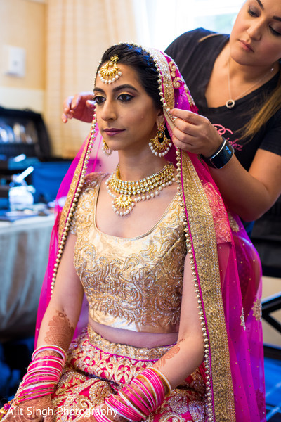 Indian bride getting ready in Greenwich, CT, Fusion Wedding by Ajit Singh Photography