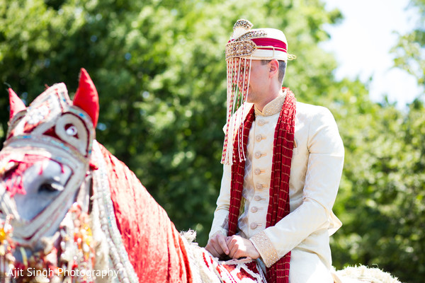 American groom baraat portrait in Greenwich, CT, Fusion Wedding by Ajit Singh Photography