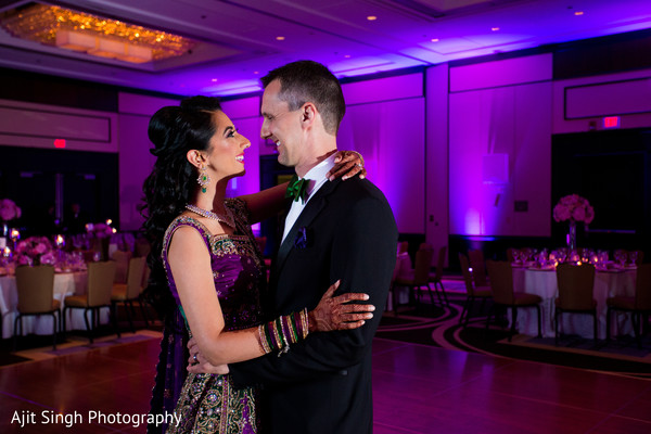 Fusion wedding first dance portrait in Greenwich, CT, Fusion Wedding by Ajit Singh Photography