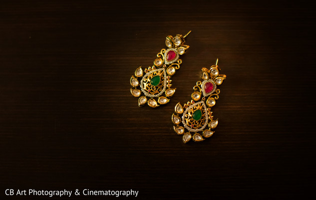 Gold colorful bridal earrings