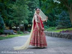 red and gold bridal lengha,red and gold bridal sari