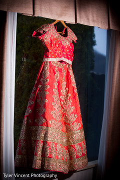 Stunning red bridal lengha.