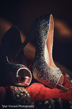 Dazzling and sparkling silver shoes.
