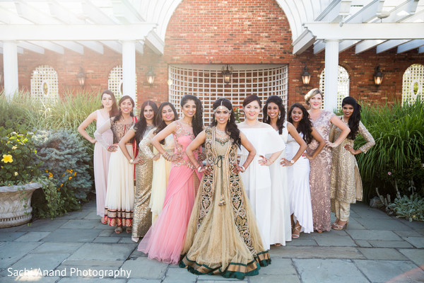 Maharani with her bridal party. in Whippany, New Jersey Indian Wedding by Sachi Anand Photography