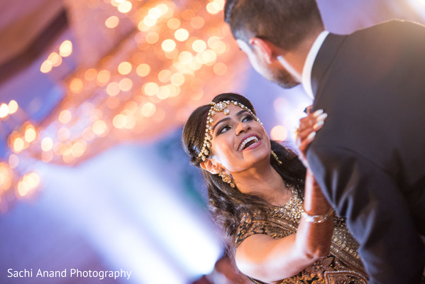 Bride and Groom at their wedding reception. in Whippany, New Jersey Indian Wedding by Sachi Anand Photography