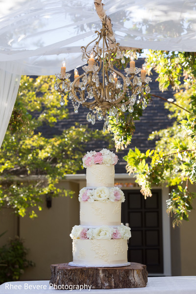 White and pink cake decor