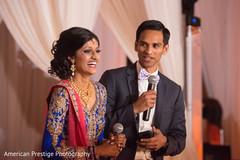 Indian couple giving their wedding speech