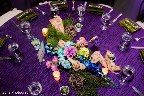 indian wedding reception,floral centerpieces,table centerpieces
