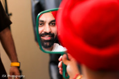 indian bride getting ready,indian groom,red turban