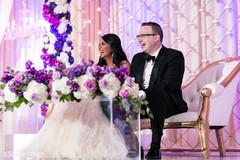Indian couple having fun in their wedding reception