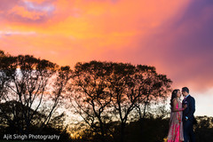 Awesome sunset wedding portrait.