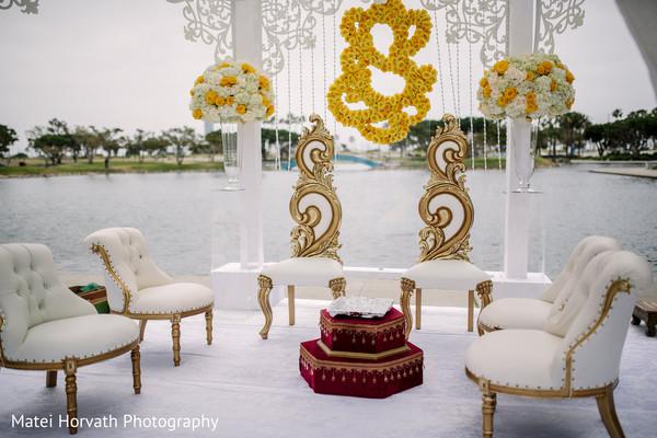 Perfect white wedding ceremony mandap.