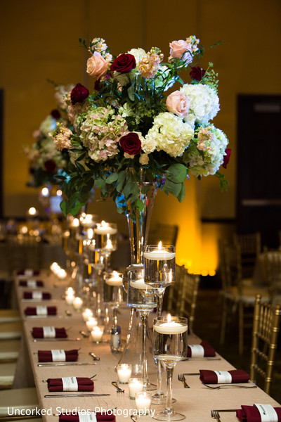 Floral centerpieces and floating candle decor