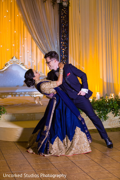 indian bride and groom first dance,new couple,indian wedding reception