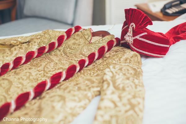 Elegant golden sherwani.