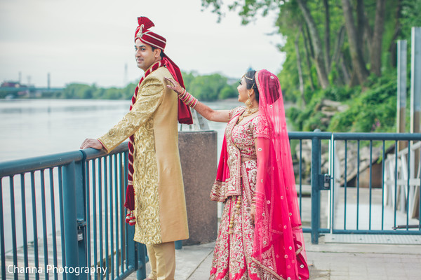 Indian couple first look photography.