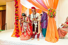 Lovely indian couple at wedding ceremony