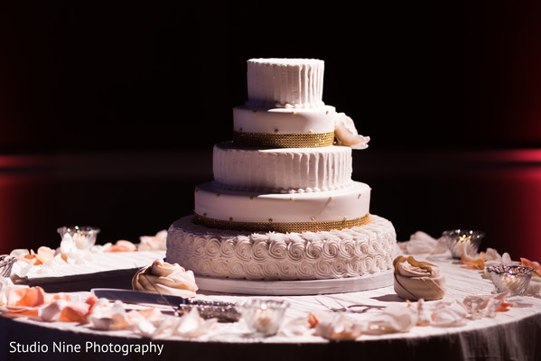 Beautiful white wedding cake.