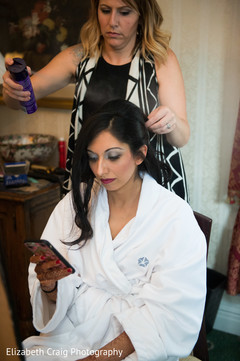 Maharani gets her hair done for the reception .