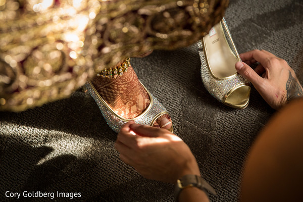 Dazzling bridal shoes.