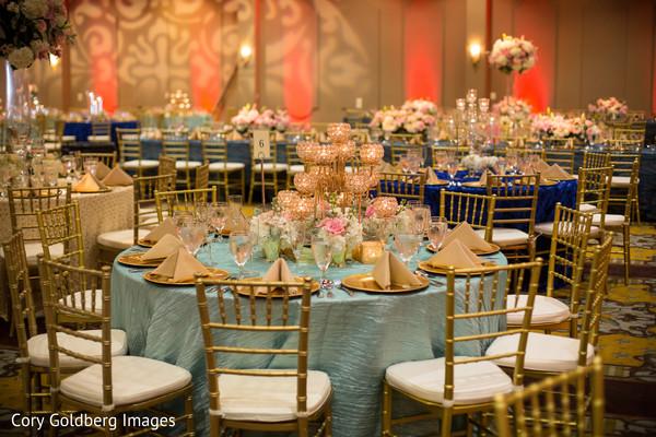 indian wedding reception,table centerpieces