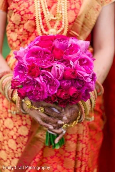Precious fuchsia bridal bouquet.