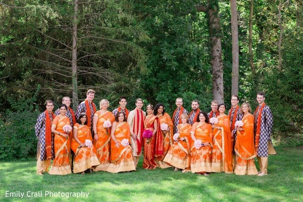 indian bride,indian groomsmen,indian bridesmaids