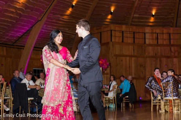 Indian couple enjoying their first dance.