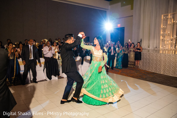 indian bride and groom first dance,indian wedding couple,indian fusion wedding reception
