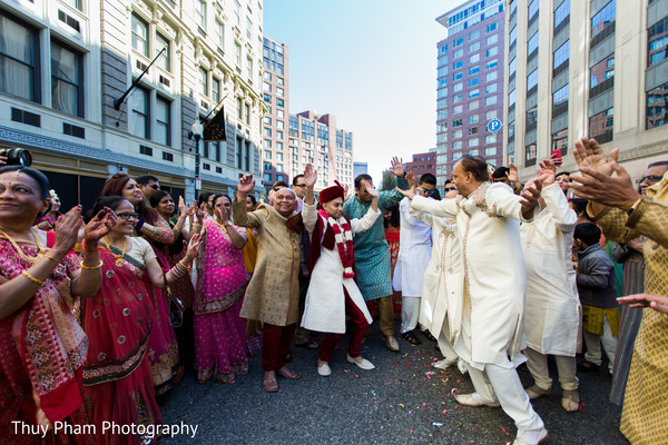 Groom having fun before wedding ceremony