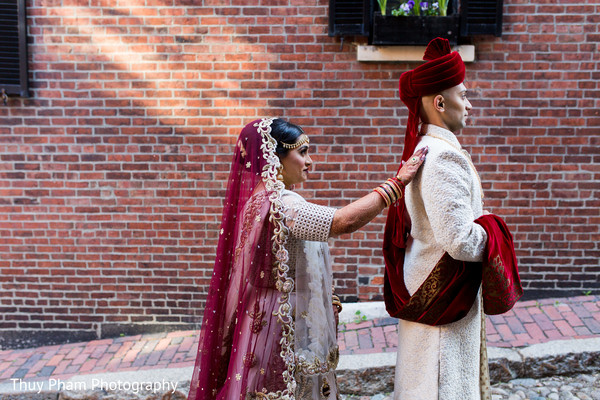 Indian groom about to see the bride for the first time before wedding ceremony