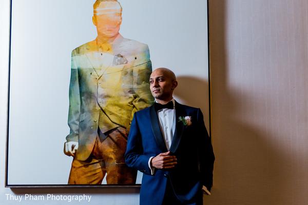 Indian groom at wedding reception