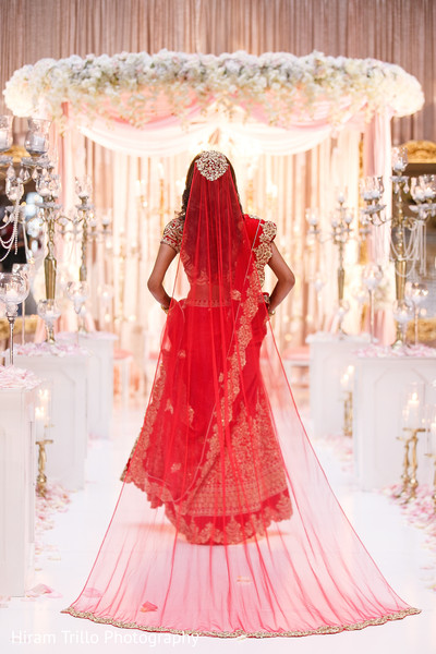 Magnificent red bridal dupatta.