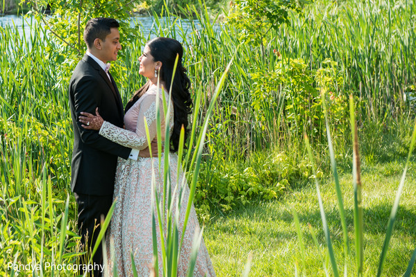 indian bride and groom,indian fusion wedding reception,outdoor photography