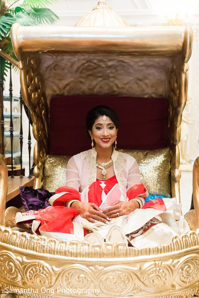 Beautiful bride carried in on a palanquin.