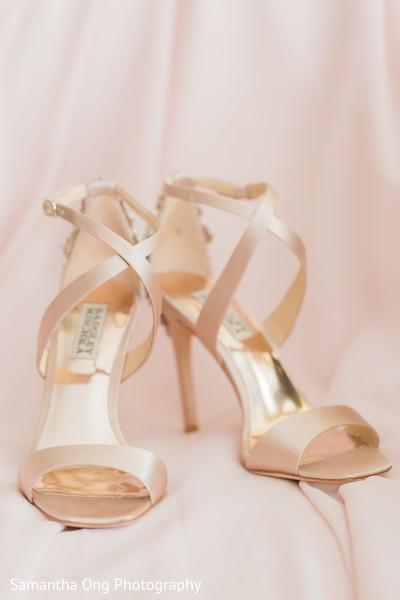 Baby pink strap bridal high heels.