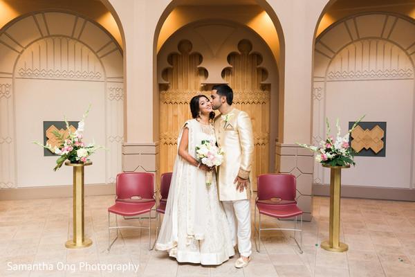 Romantic indian couple wedding portrait.