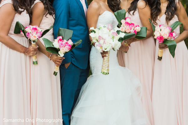 Lovely pink and white bouquets.