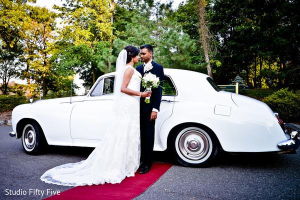white car,indian bride