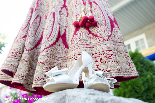 Indian bride lengha and shoes.