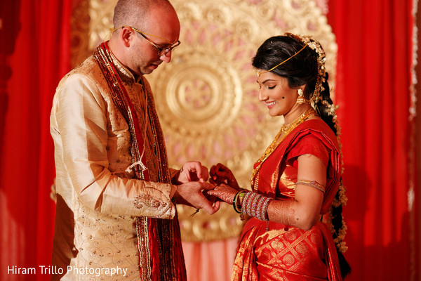 Indian couple exchanging wedding rings in Dallas, TX Fusion Wedding by Hiram Trillo Art Photography