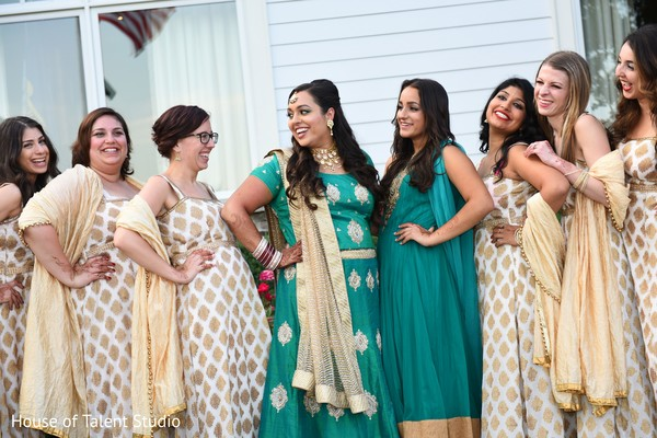 indian bridesmaids' fashion,indian bride reception fashion