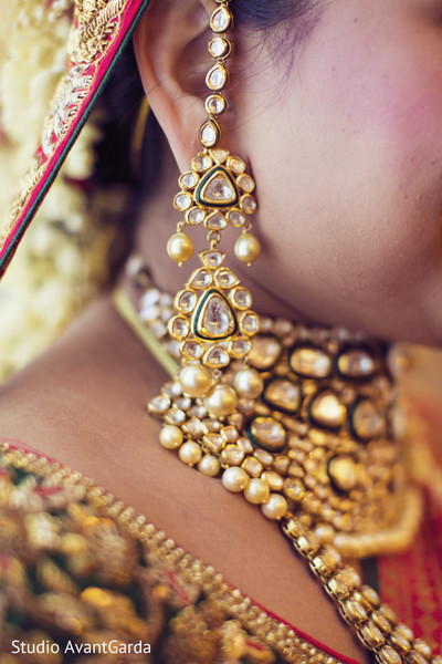 Traditional indian bride earrings