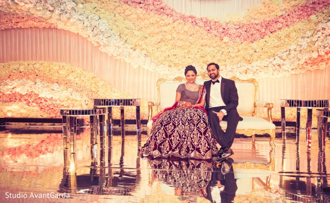 indian wedding couple,indian fusion wedding reception,indian wedding floral and decor