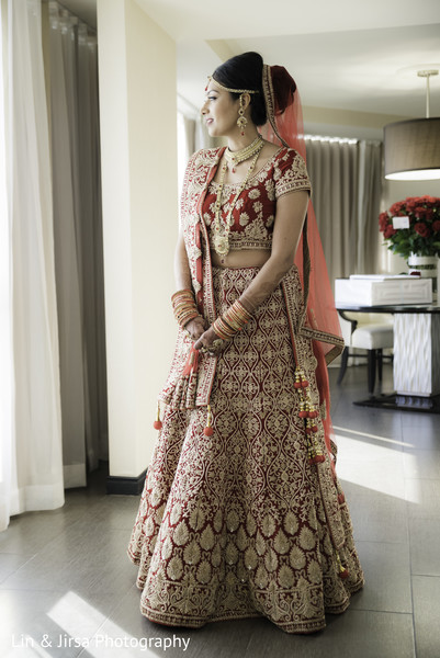 indian bridal fashions,indian bride red lengha,indian bride ceremony fashion