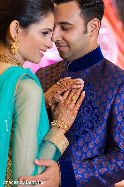 Indian couple at sangeet ceremony