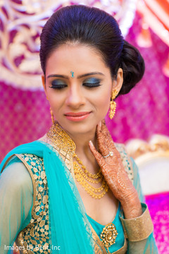 Indian bride at sangeet ceremony