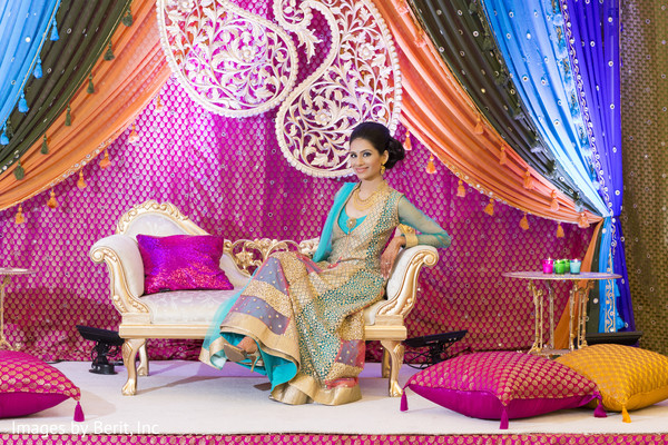 Indian bride photoshoot at sangeet ceremony